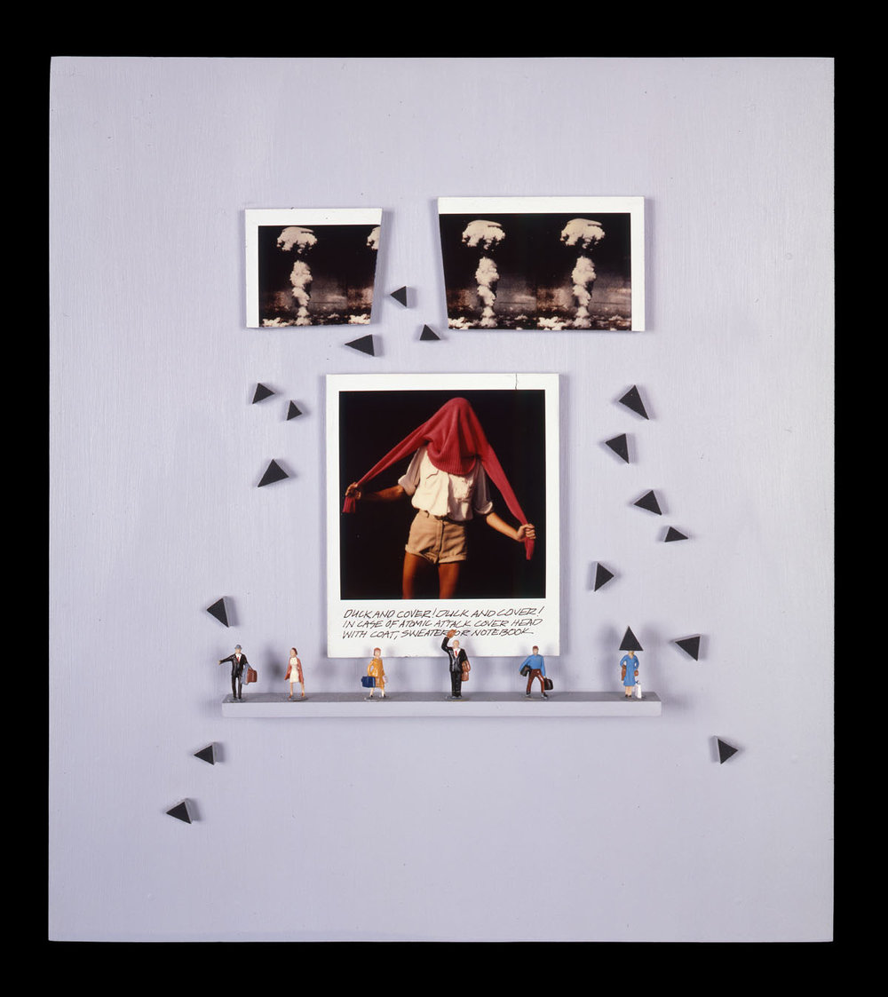 """Duck and Cover 3   (one of three pieces) 12""""x13""""x2"""", Polaroid SX-70 prints, scale model figures, fabric, wood, masonite"""