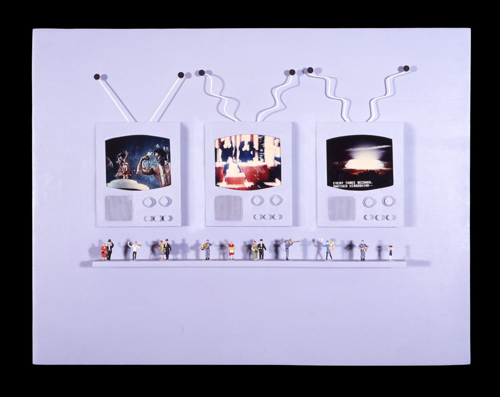 """The End of the World Ain't Going to Be No Spectator Sport   11""""H x 14""""W x 2""""D, Polaroid SX-70 prints, scale model figures, fabric, screen, wire, masonite"""