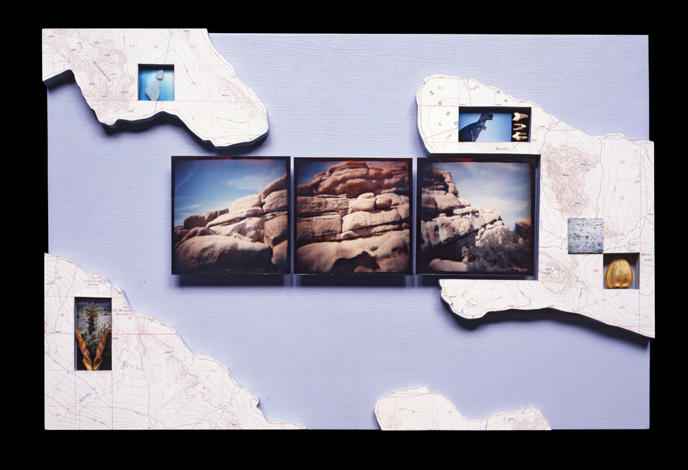 """Landscape Changing Shape   11""""H x 14""""W x 2""""D, type C prints, topographic map, found objects, acrylic paint, masonite"""