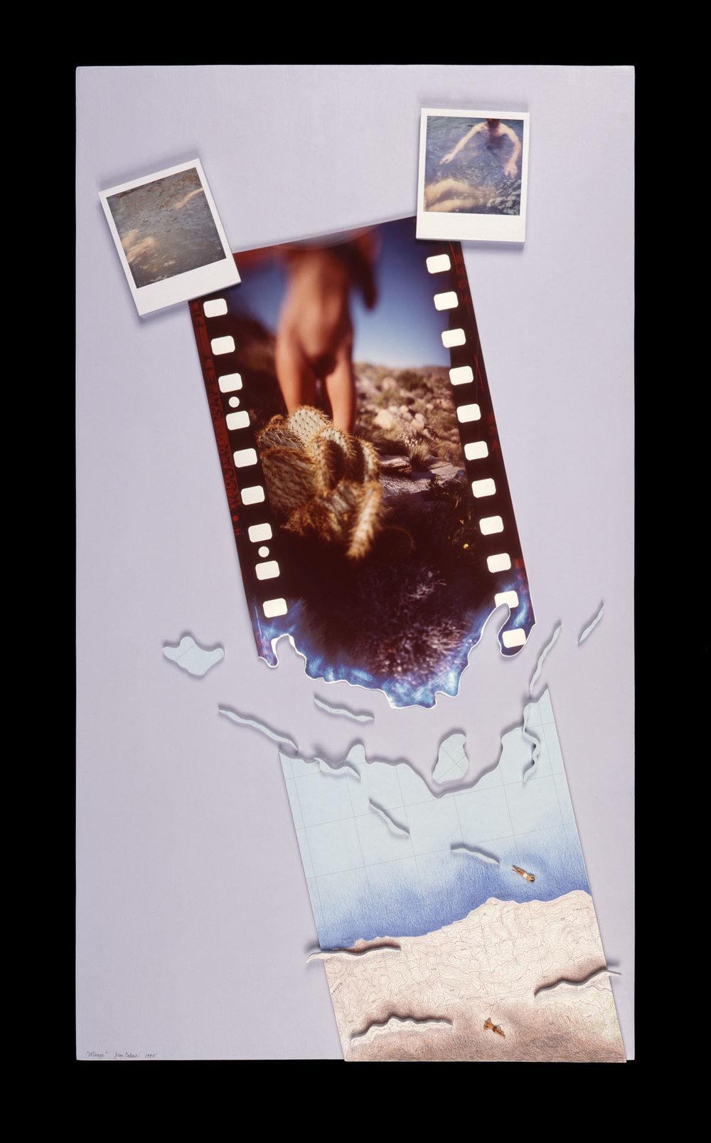 "Mirage   28""H x 20""W x 2""D, Cibachrome print, Polaroid SX-70 prints, topographic map, scale model figures, colored pencil, acrylic paint"
