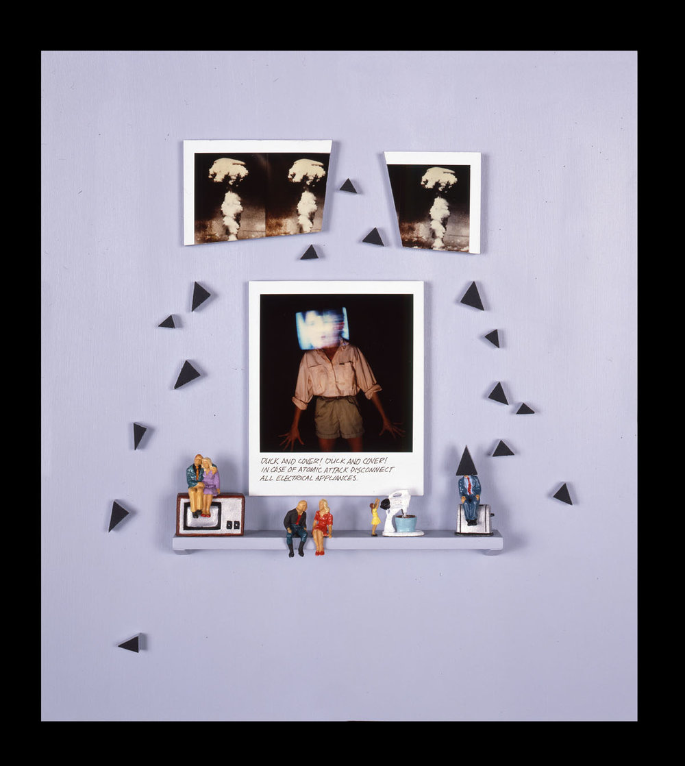 """Duck and Cover 1   (one of three pieces) 12""""x13""""x2"""", Polaroid SX-70 prints, scale model figures and appliances, masonite"""