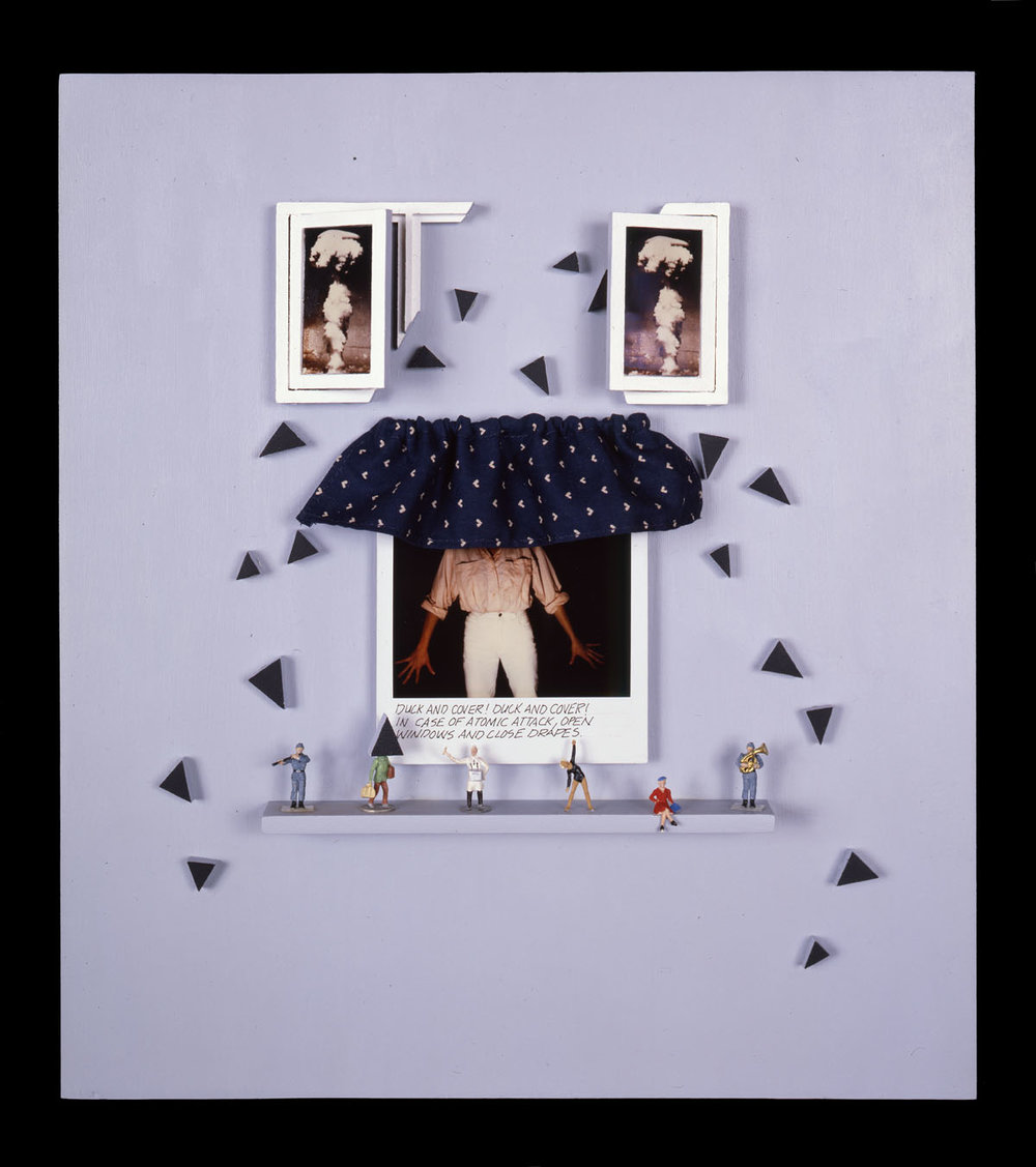 """Duck and Cover 2   (one of three pieces) 12""""x13""""x2"""", Polaroid SX-70 prints, scale model figures, fabric, wood"""