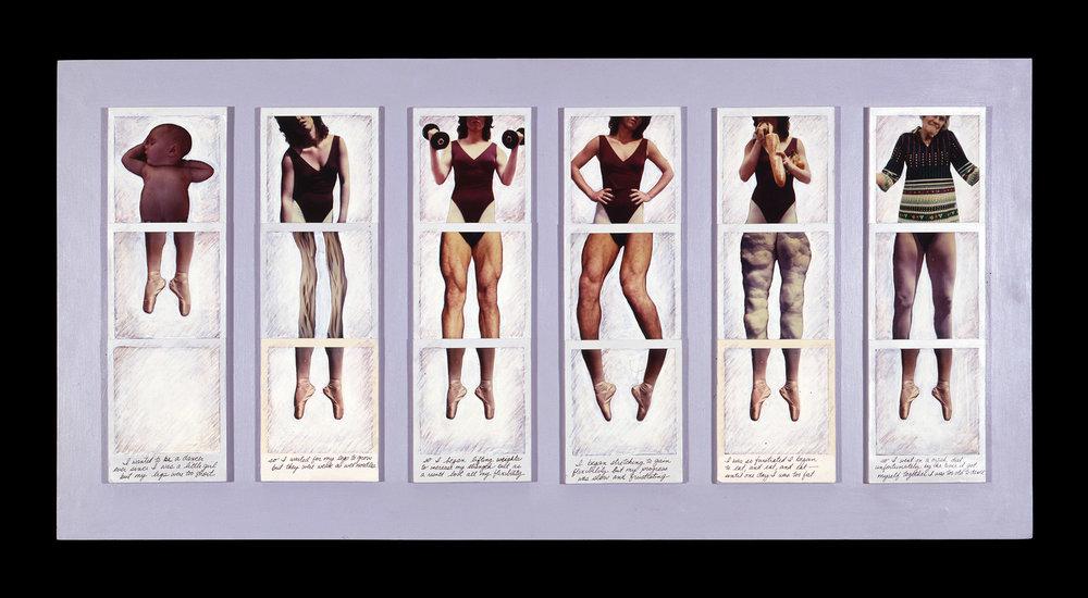 "Dancer's Nightmare   14""H x 24""W x 2""D, Polaroid SX-70 prints, colored pencil, acrylic paint"