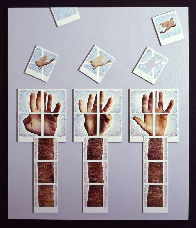"Palm Trees   31""H x 228""W x 2""D, Polaroid SX-70 prints, colored pencil, acrylic paint, masonite"