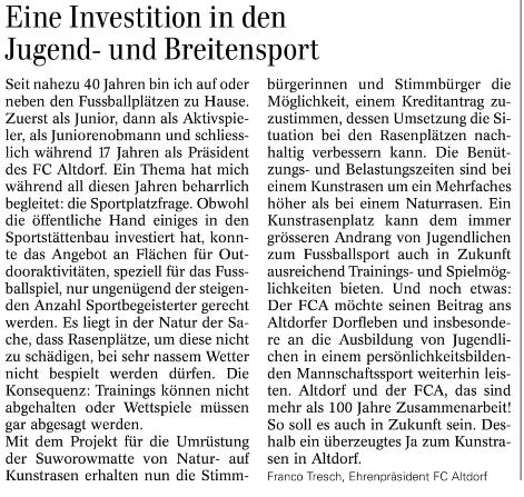 Leserbrief von Franco Tresch (Urner Wochenblatt 10.04.2019)