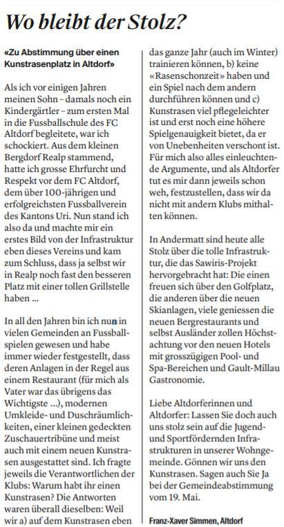 Leserbrief von Franz-Xaver Simmen (Urnerzeitung 12.04.2019)