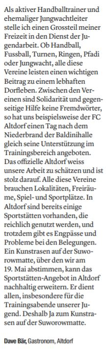 Leserbrief von Dave Bär (Urnerzeitung 16.04.2019)