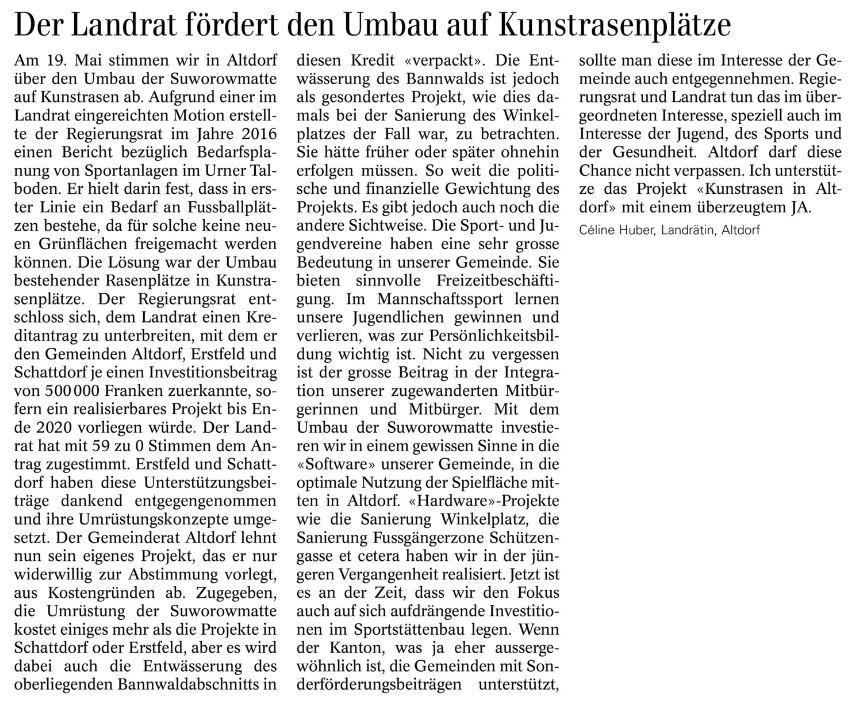 Leserbrief von Céline Huber (Urner Wochenblatt 17.04.2019)