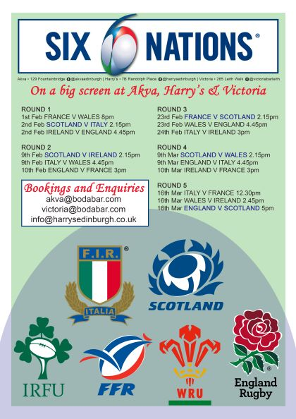 Join us to watch Scotland -France 2.15pm upstairs in Akva.
