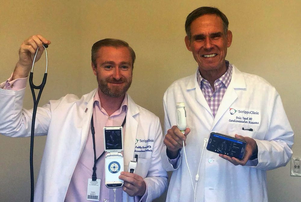 Dr Paddy Barrett with Dr Eric Topol displaying hand-held smartphone ultrasound technologies which are likely to replace the use of the stethoscope in clinical practice in the future.
