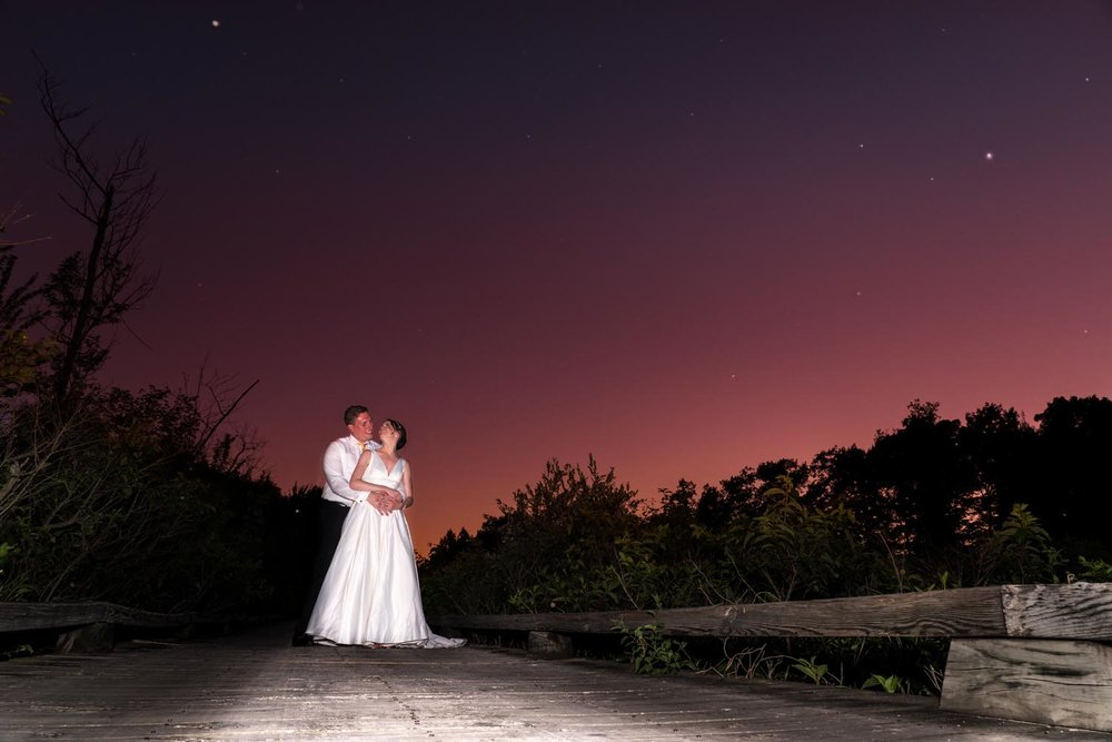 Groom and bride at sunset with stars in the sky