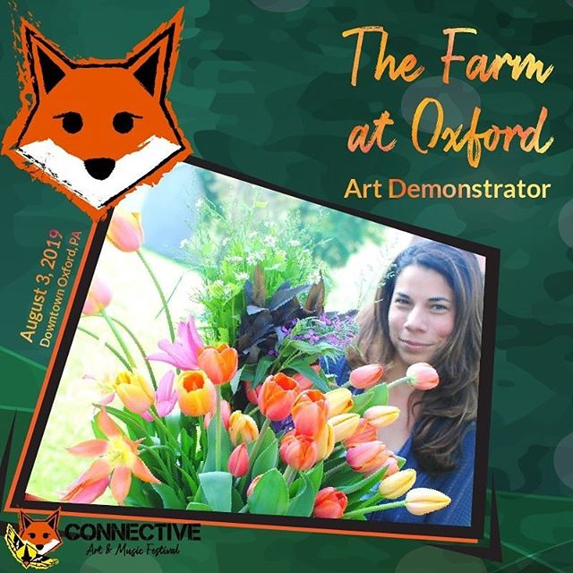 Gallery Row isn't only going to look beautiful this year, it will have fresh floral fragrances wafting through the air thanks to @thefarmatoxford!  Stop by and see how floral bracelets and anklets are made while also taking in the beauty of locally grown flowers!  Stay tuned for more announcements of artists coming soon! 🎨🦊🎸 #connectivefestival