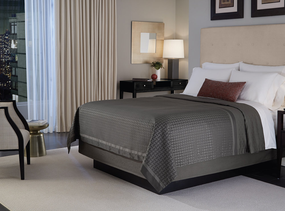 Shown here is our Augusta Complete Bedding Collection.