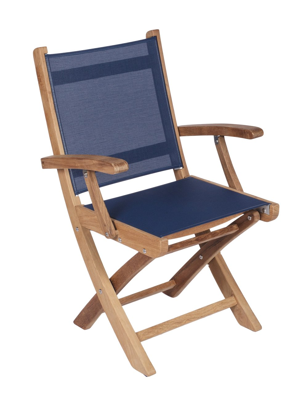 ROYAL TEAK - Sailmate Folding Arm Chair    Sling Colors : Navy, Moss, Grey, Black & White