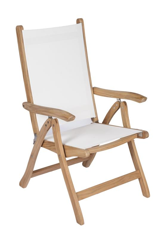 ROYAL TEAK - Florida Reclining Dining Chair    Sling Colors : Navy, Moss, Grey, Black & White