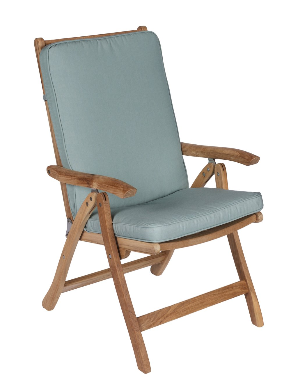 ROYAL TEAK COllection -  Folding Estate Chair   Sunbrella Cushion Included : Canvas Spa, Navy, White & Granite