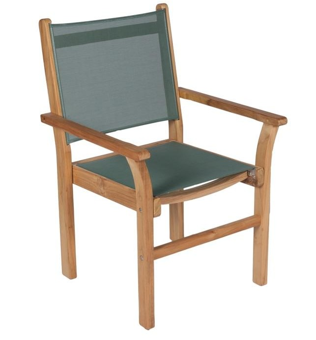ROYAL TEAK - Captiva Stacking Chair    Sling Colors : Navy, Moss, Grey, Black & White