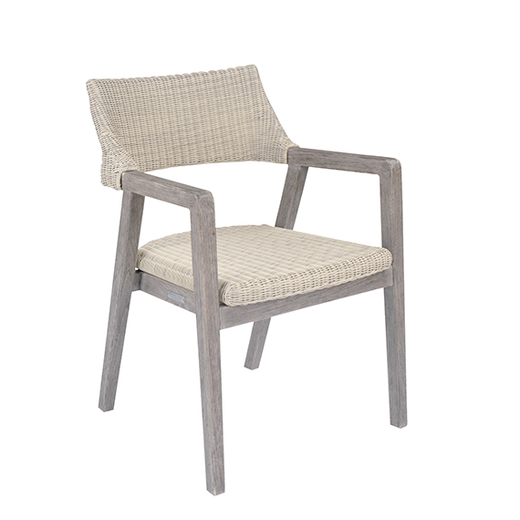 Kingsley Bate   Spencer Dining Arm Chair Teak Finish - Weathered Grey
