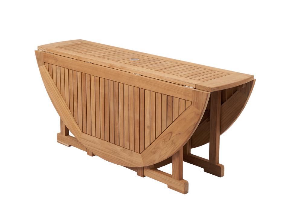 "ROYAL TEAK - 5' Drop Leaf Table    60""D x 29.5""H  Seats 4 - 6"