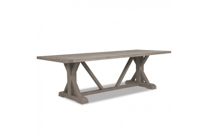 """TEAK + TABLE TRESTLE TABLE   Available in a Weathered or Natural Finish   75.5""""W x 42.5""""D x 29.5""""H  Seats 6-8"""