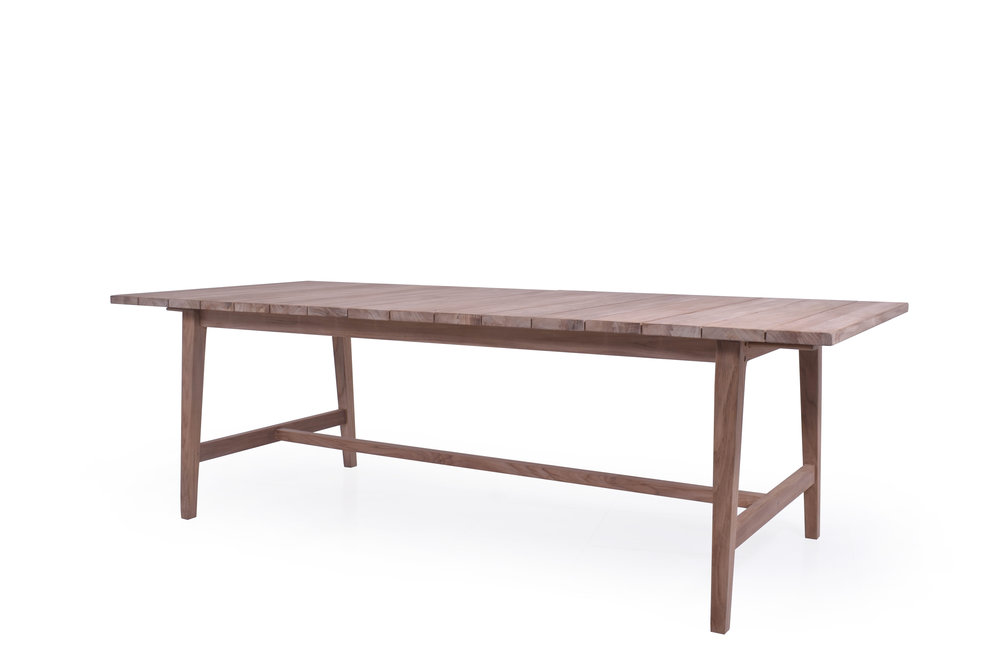 "TEAK + TABLE -  Capri Extend Table   94""-118""W x 39.25""D x 30""H  Seats 8-12"