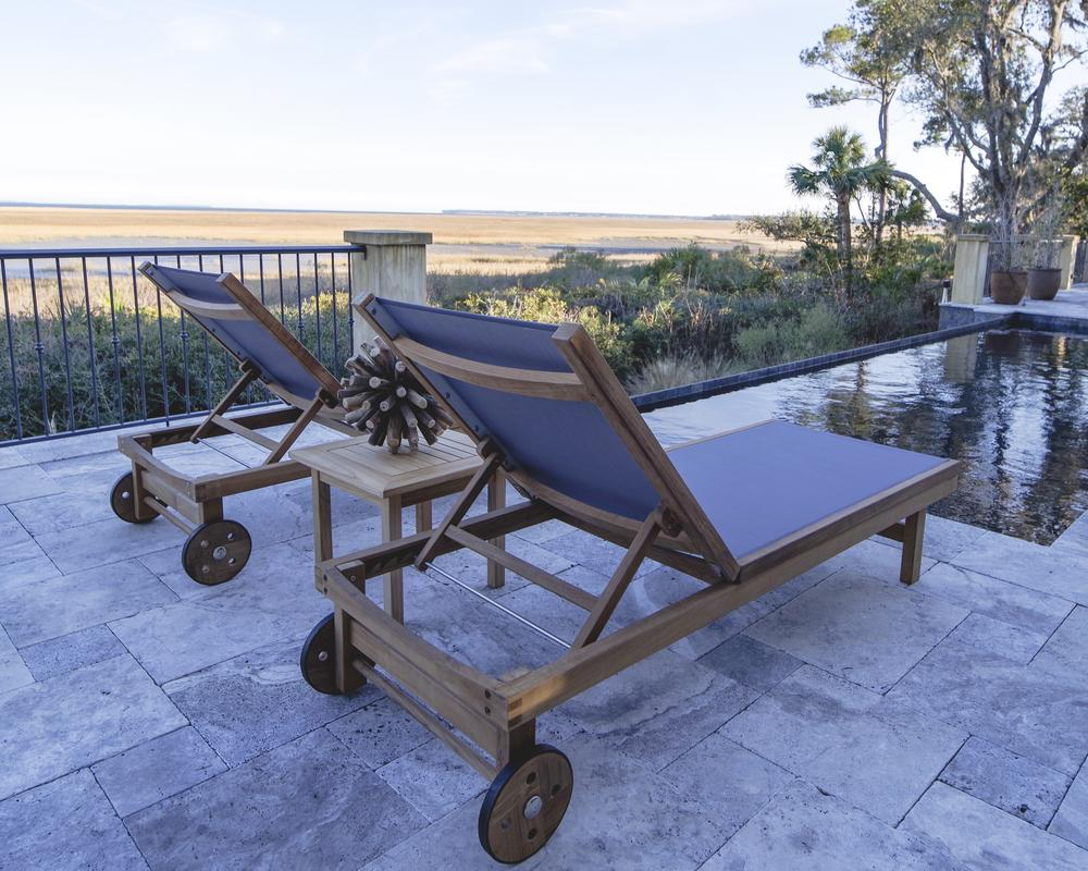 Royal Teak Collection  | Sundaze Chaise Lounge with replaceable slings