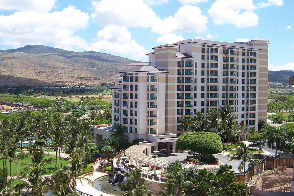 MARRIOTT'S KO OLINA BEACH CLUB PHASE 1 - KoOlina, Oahu, HIFifteen story interval-ownership condominium building with 105 units, retail, administration and sales including a separate parking structure for 230 cars, a fitness center and a pool grille. It is constructed of reinforced concrete, post-tensioned concrete beams and slabs. The project totals about 336,740 square feet.Contractor: DICK PACIFICArchitect: ARCHITECTS HAWAII