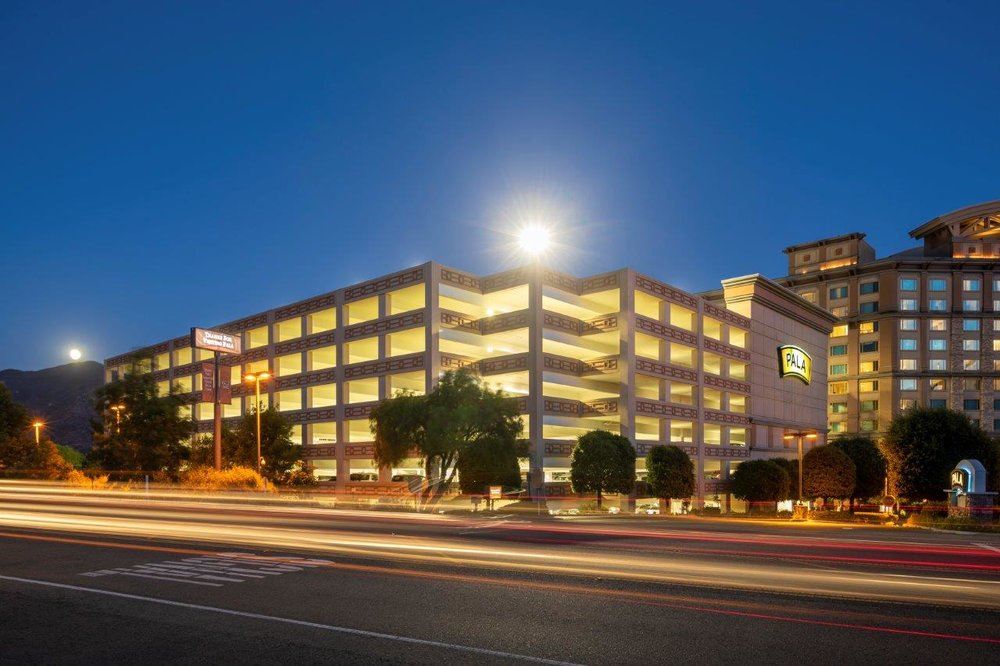 PALA CASINO RESORT PARKING STRUCTURE EXPANSION - Pala, CAThree story addition to existing Four story structure with post-tensioned concrete structure for a total of 958 cars.Contractor: BOMEL CONSTRUCTIONArchitect: INTERNATIONAL PARKING DESIGN (IPD)