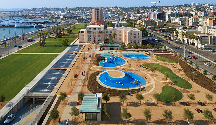 WATERFRONT PARK PARKING STRUCTURE - San Diego, CASingle story subterranean post-tensioned concrete structure for 254 cars under a 89,000 square foot public park at the San Diego Harbor.Contractor: McCARTHYParking Architect: INTERNATIONAL PARKING DESIGN (IPD)