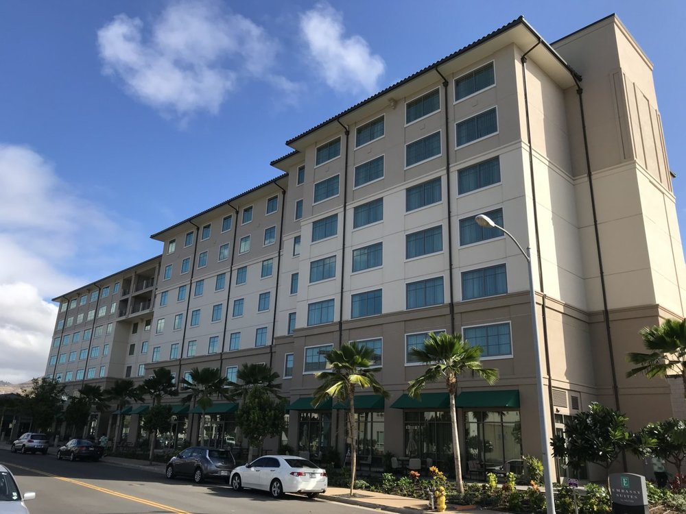 EMBASSY SUITES KAPOLEI - Kapolei, Oahu, HINine story reinforced concrete building with concrete shear walls and post-tensioned slabs with approximately 172,500 square feet and two story parking structure.Contractor: LAYTON CONSTRUCTIONArchitect: GROUP 70 INTERNATIONAL