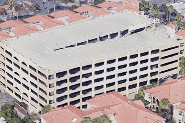 UNIVERSITY APARTMENTS PARKING STRUCTURE - Riverside, CAFive story post-tensioned concrete for 551 cars.Contractor: BOMEL CONSTRUCTIONArchitect: HNA/PACIFIC
