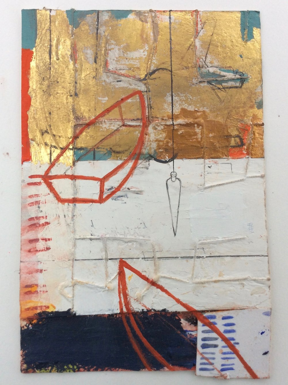 "Rescue Boats- 5""x4"" -mixed media on paper"