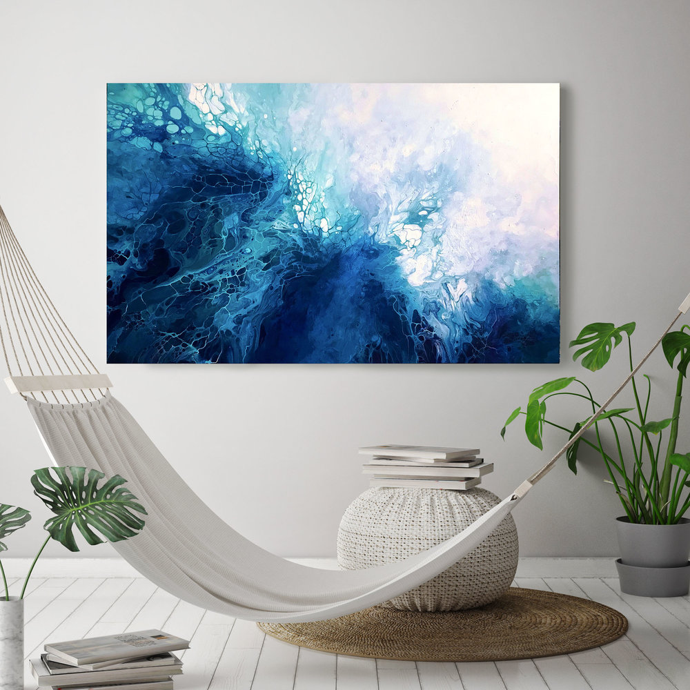 EVE/ 2018/Fluid Acrylic and Atlantic Ocean Water / 30x48x1.25/ For Sale/    CONTACT BoJu Art
