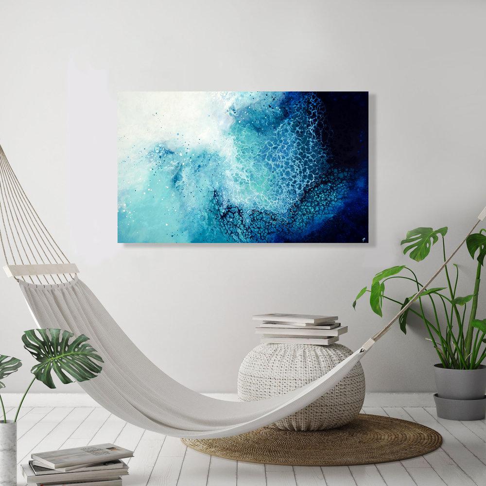 Mara/ 2019/ 30x48x1.25/Fluid Acrylic and Atlantic Ocean Water on Canvas/ for sale/     CONTACT BoJu Art Gallery    /