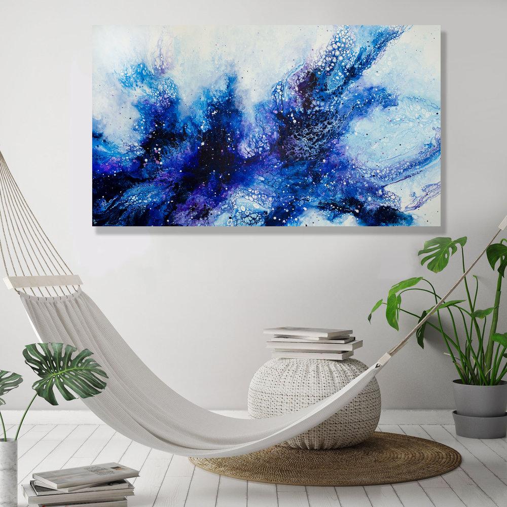 Tala/ 2019/ 36x60x1.25/Fluid Acrylic and Atlantic Ocean Water on Canvas/ for sale/     CONTACT BoJu Art Gallery    /