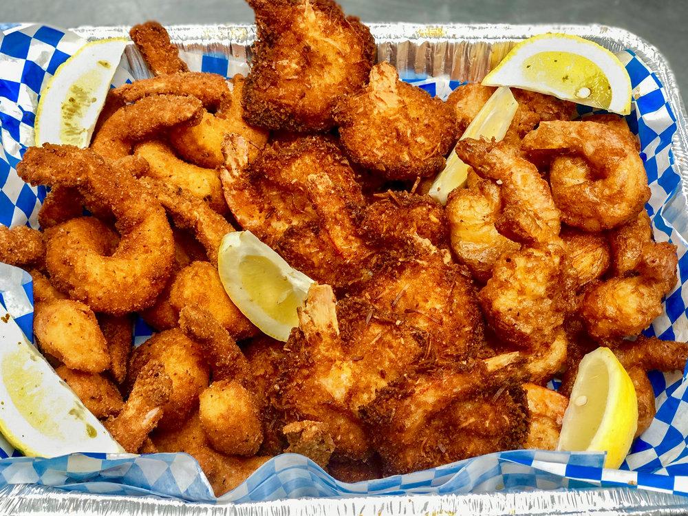 Shack Platter - 1 lb Coconut, 1 lb Crispy, 1 lb Beer Battered Shrimp