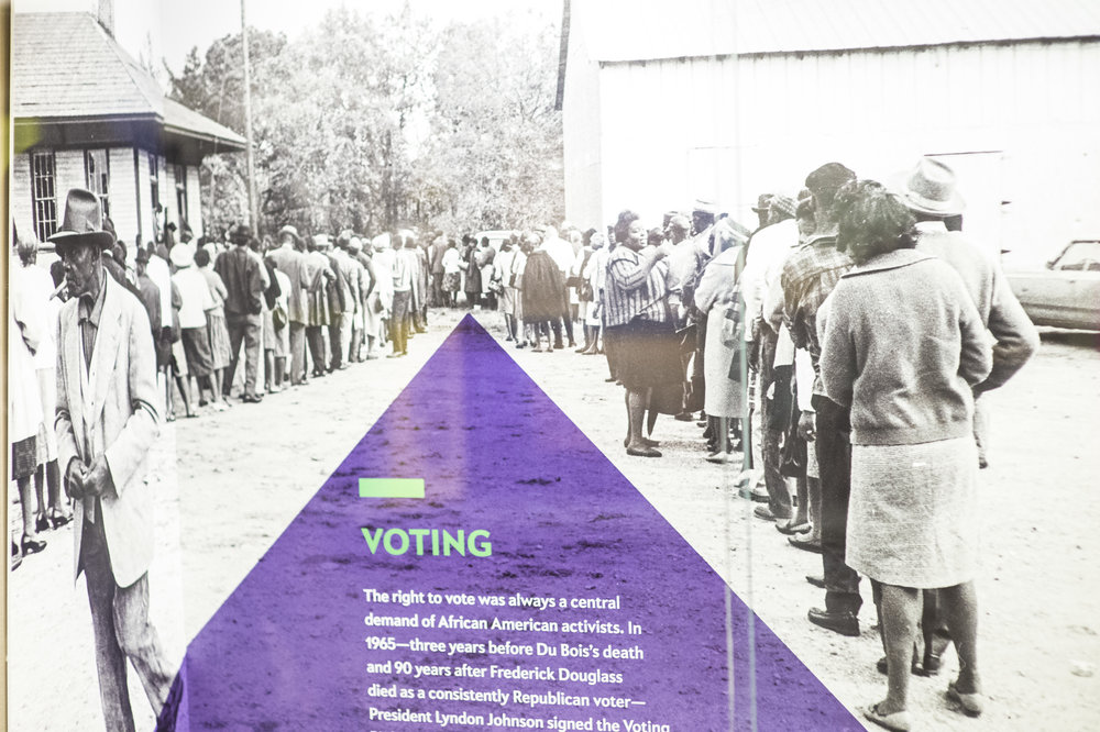 African-Americans line up to vote after passage of the Voting Rights Act of 1965 .