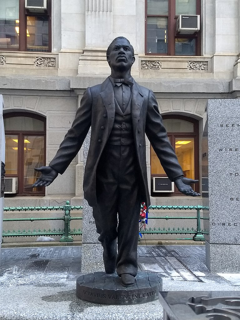 Statue of Octavius Valentine Catto (1839-1871) in City Hall Courtyard, the first statue of an African-American in Philadelphia. A distinguished scholar, he led the fight to register African-Americans to vote in the    mid-1800s.    He was killed outside a polling place at 700 South Street on Election Day, Oct. 10, 1871. He was 32 years old.