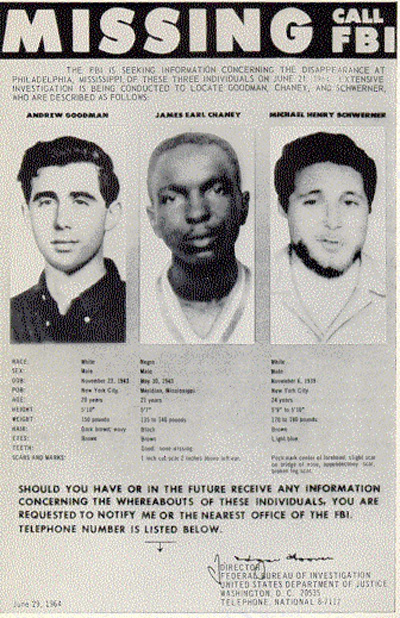 Andrew Goodman, 20, (left) and Michael Schwerner (right), 24, came from New York to register African-Americans to vote in Philadelphia, Mississippi in 1964. Along with James Chaney (center), 21, they were brutally murdered by the Ku Klux Klan.