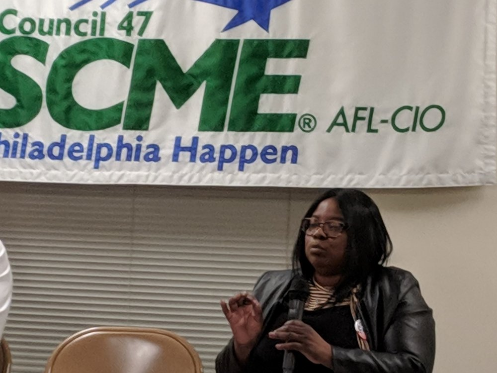 Carla makes a point during the AFSCME District Council 47 interview portion of the endorsement process. Eight of the candidates appeared in two separate panels of four people each.
