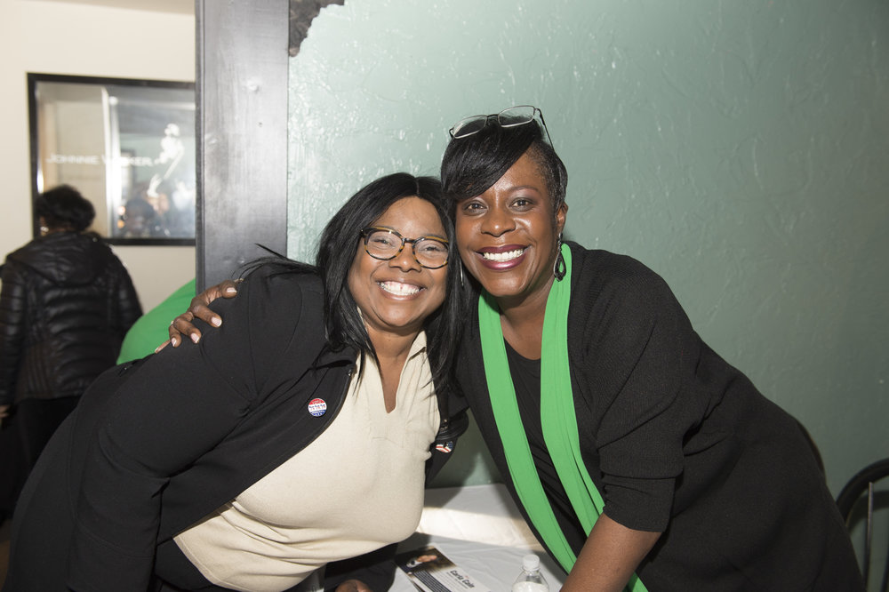 Carla Cain (left) and Cherelle Parker, Ninth-District City Councilwoman and Ward Leader in the 50th Ward at the 50th Ward Petition Party on March