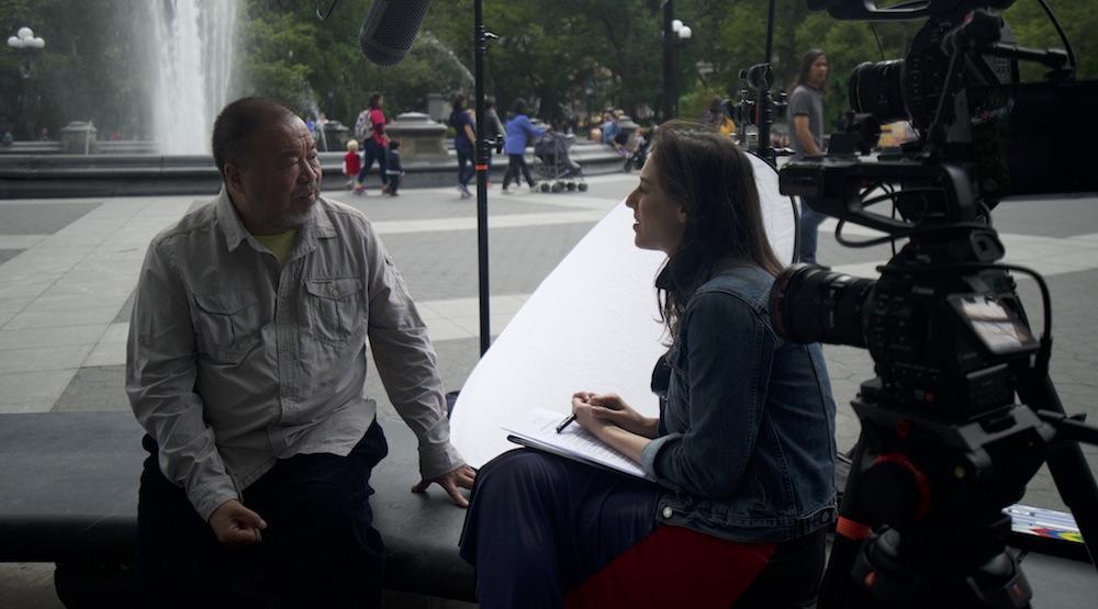 Rachel interviewing Ai Weiwei in 2018; photograph by Jonathan Sanden