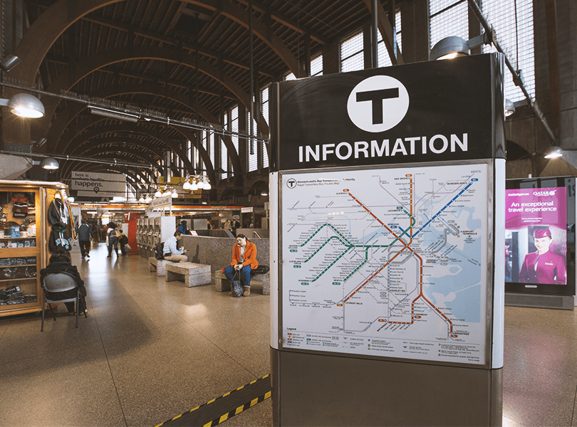 An MBTA system map at Back Bay Station