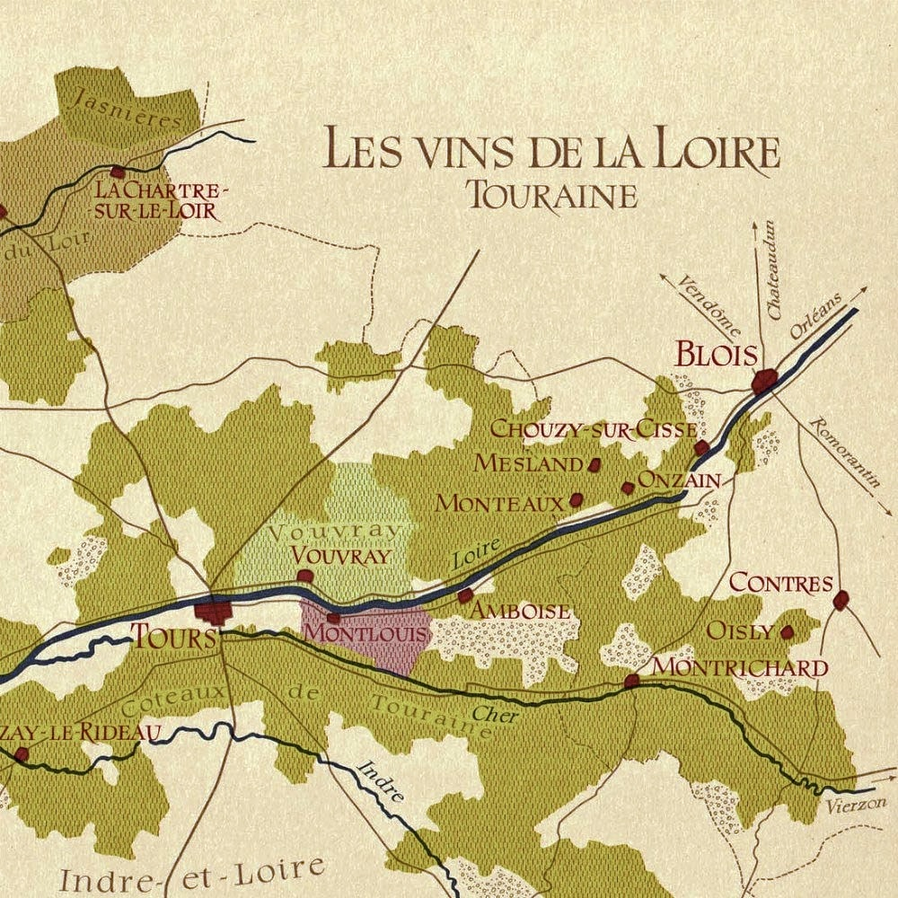 A map of the area showing the local wine growers, including the famous Vouvray region