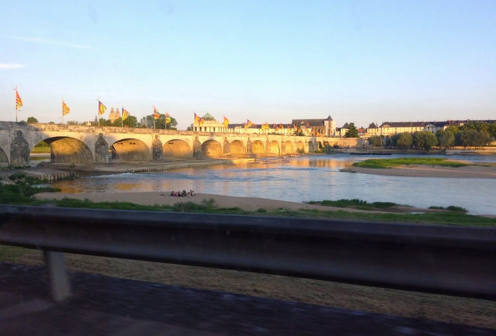 The medieval city of Tours along the Loire in the late evening