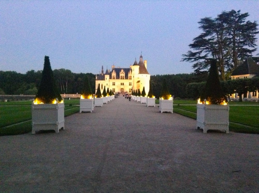 Arrival at Chenonceau was coordinated with a night-walk with baroque music and changing light shows over manicured gardens and ancient fountains