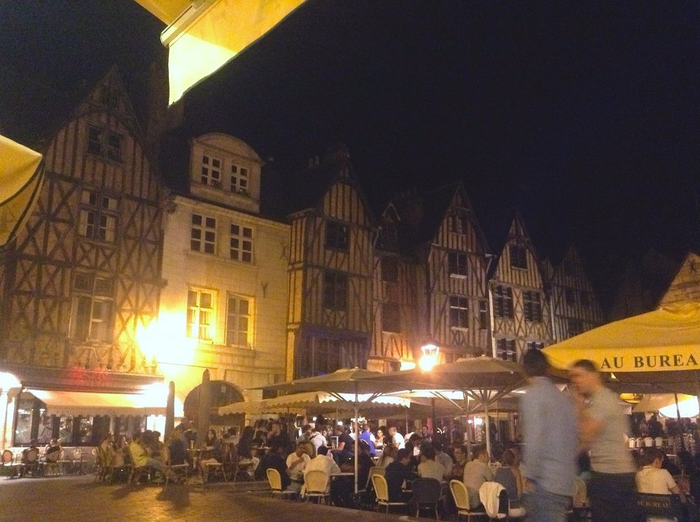Night life, cafés, and restaurants in the old center of Tours at the Medieval Place Plumereau and its half-timbered buildings