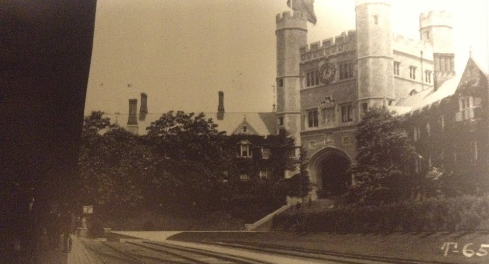 As it appeared before the war, complete with train tracks for arrival [Princeton Library Archives]