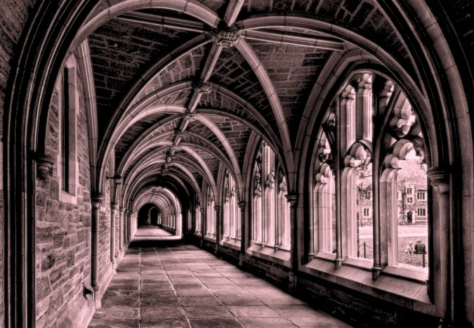 The cloisters at Rockefeller College. This was the walk to the dining hall
