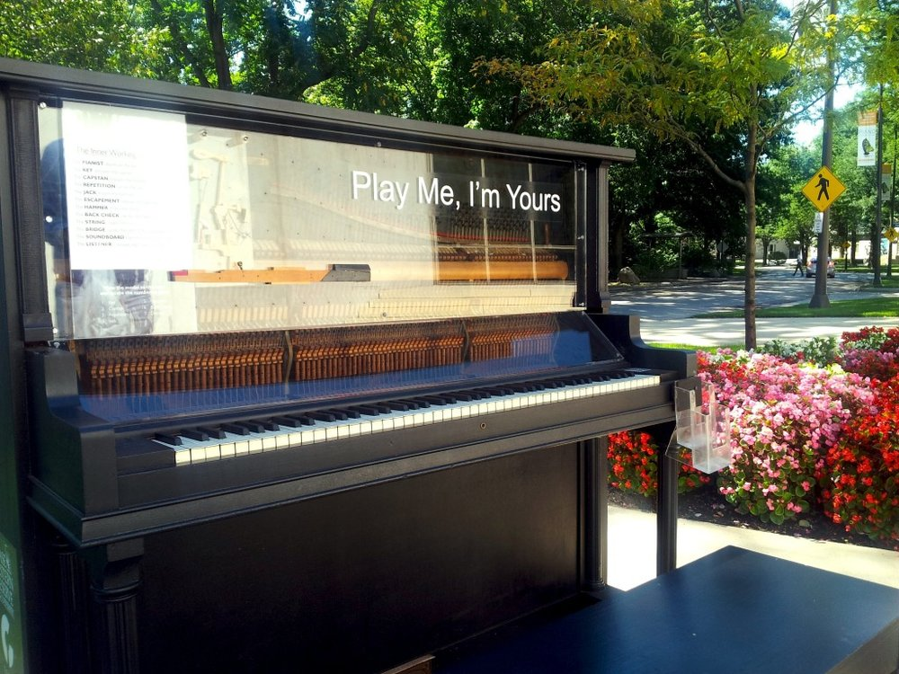 An outdoor piano display in front of the Cleveland Institute of Music in University Circle [Photo: Zsolt Bognár]